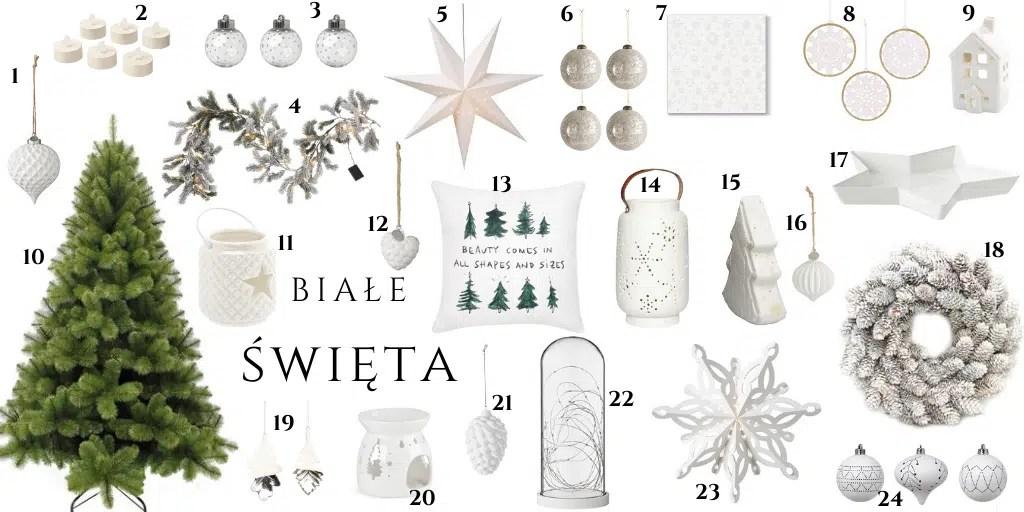 ozdoby świąteczne białe jasne