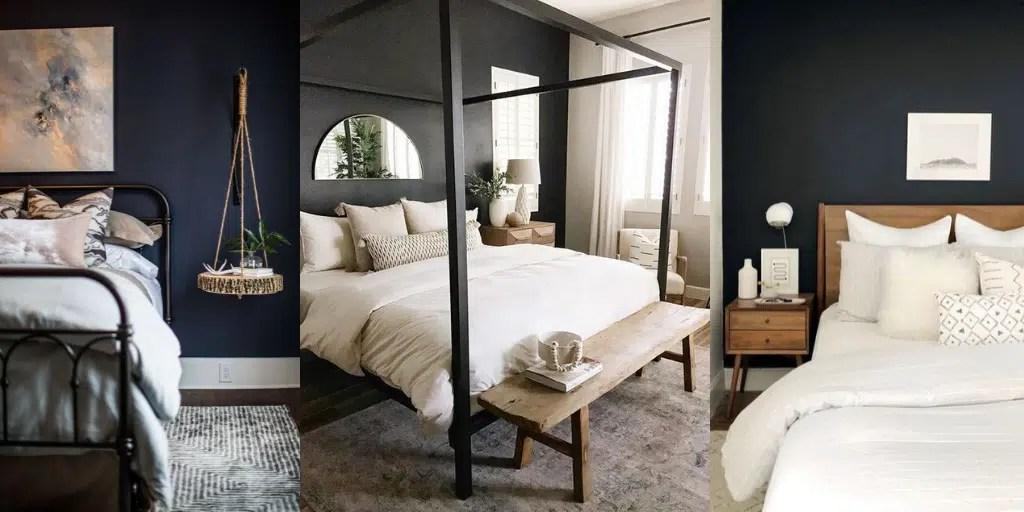 ciemna ściana za łóżkiem w sypialni