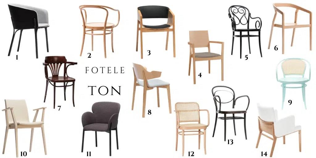 TON drewniane krzesła do stołu z podłokietnikami fotele tapicerowane