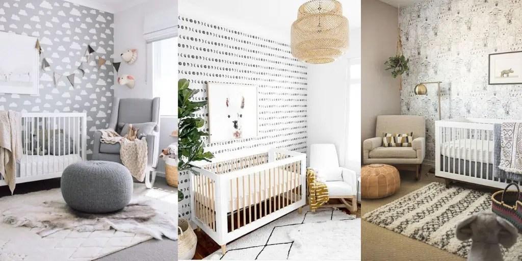 pierwszy pokój dziecka tapeta na ścianie chmurki