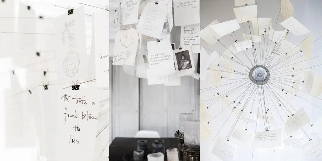 lampa z białymi karteczkami na spinaczach z wyznaniami miłości jak jest zrobiona zbudowana lampa Zettel'z 5