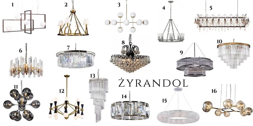 żyrandol szklany elegancki kryształowy metalowy
