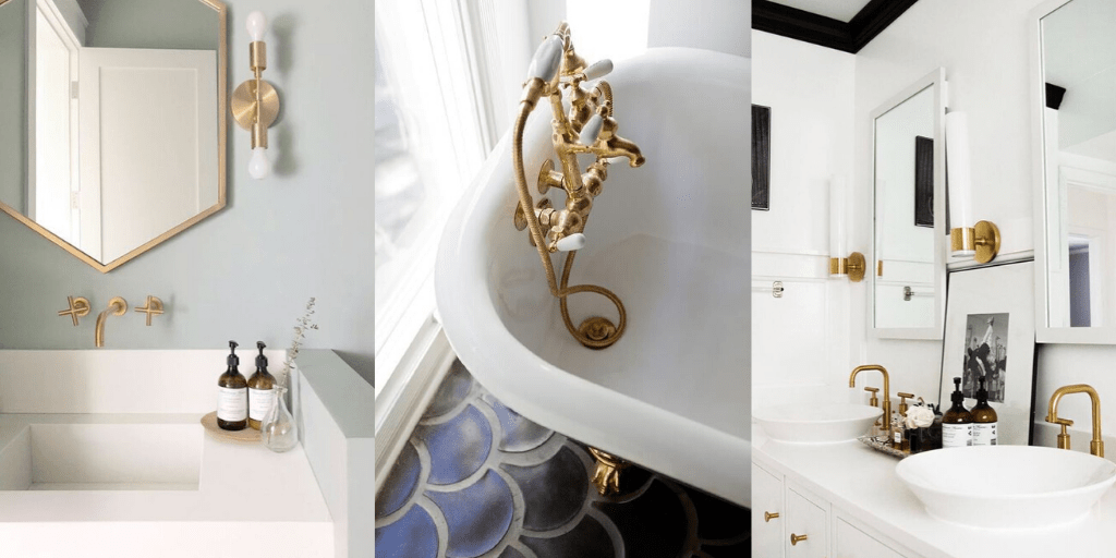 złote elementy armatury łazienkowej złote kinkiety złota bateria do wanny wolnostojące retro