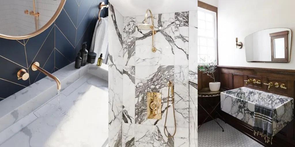 marmurowa umywalka płytki wzór marmuru złota armatura łazienkowa