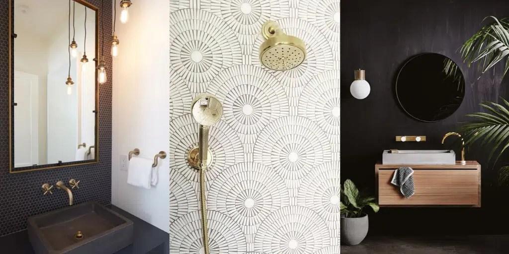 złote baterie łazienkowe ciemne ściany wzór na płytkach