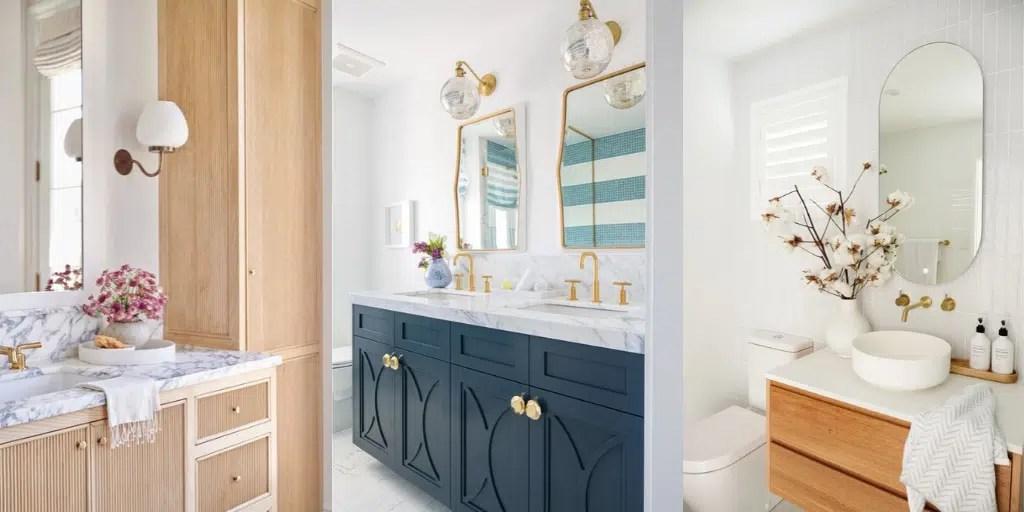 jasna łazienka złoty kran do umywalki
