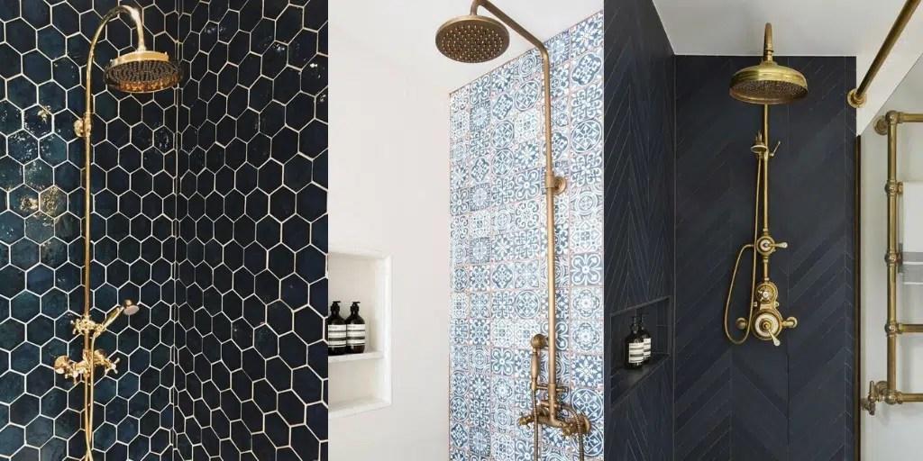 złota deszczownica do prysznica natynkowa klasyczna okrągła