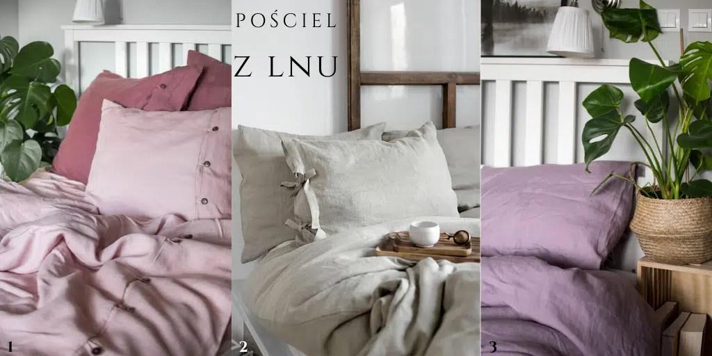 polska marka pościeli poszewki z lnu z guzikami różowe fioletowe
