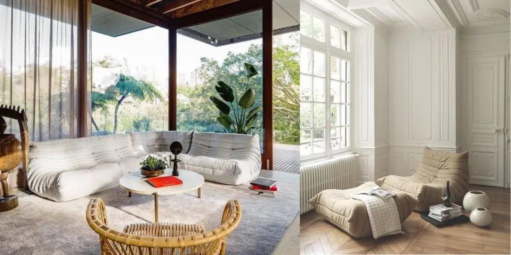 sofa jak poduszka do siedzenia ekskluzywne meble z lat siedemdziesiątych francuski design wnętrza