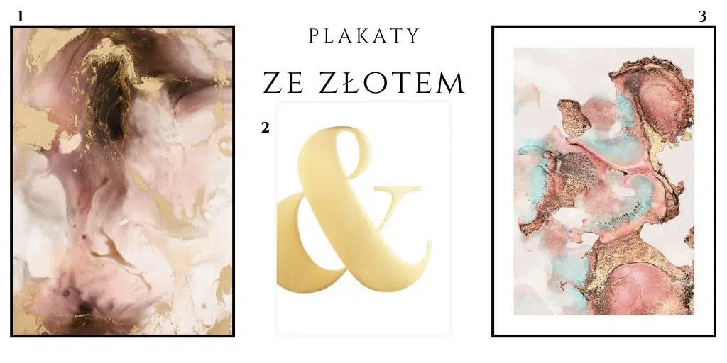 plakat w odcieniach złota i różu marmurowy