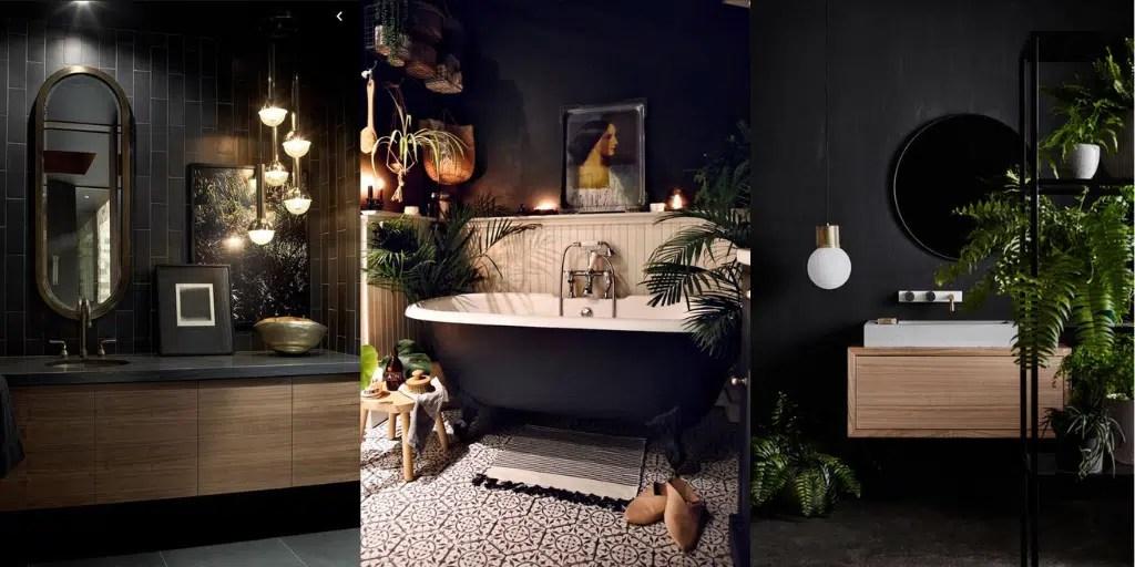 czarne wnętrze łazienki czarne ściany drewniane elementy