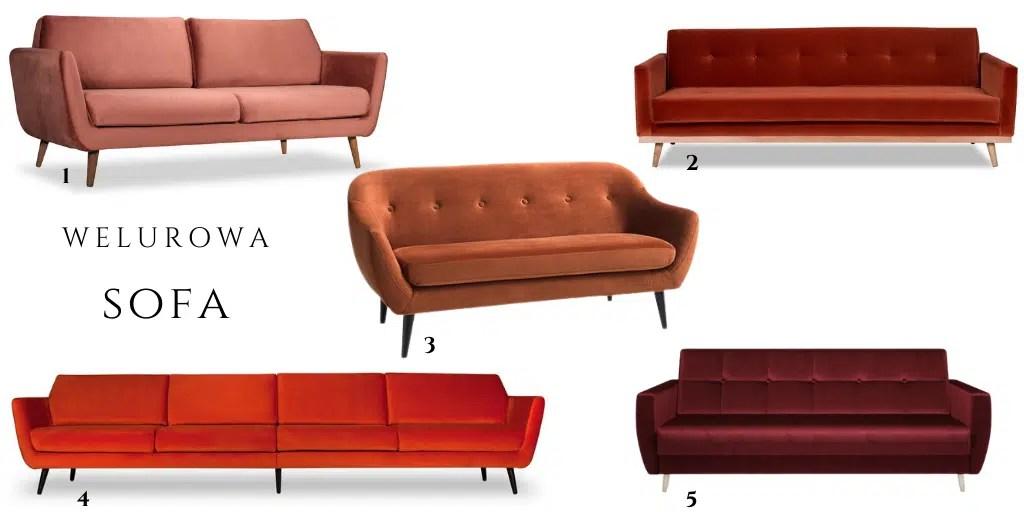 kanapa z weluru bordowa pomarańczowa czerwona do salonu