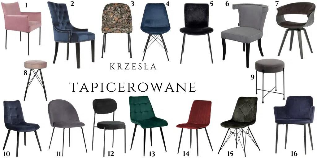 krzesła welurowe na czarnych nogach obite aksamitem