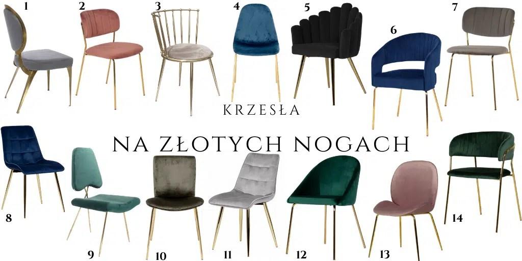krzesła na złotych nogach aksamitne welurowe eleganckie