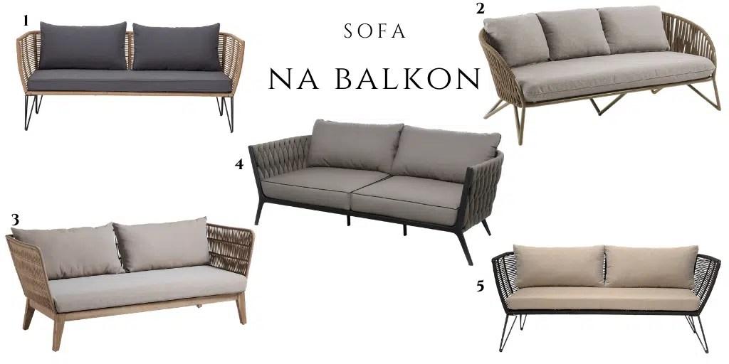 sofa zewnętrzna elegancka z plecionką na bokach beżowa jasna szara