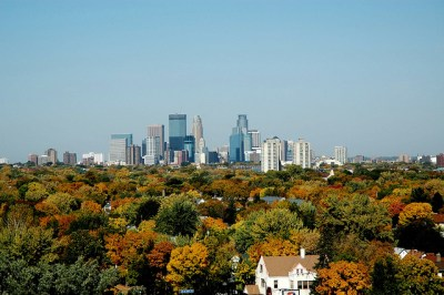 Minneapolis Skyline Over the Trees.