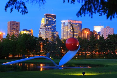 Minneapolis Skyline, Spoonbridge and Cherry Sculpture.