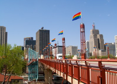 Flags over Wabasha Bridge, Saint Paul. Photo credit: Visit Saint Paul