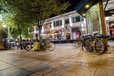 Nicollet Mall with Bikes, Minneapolis, MN.