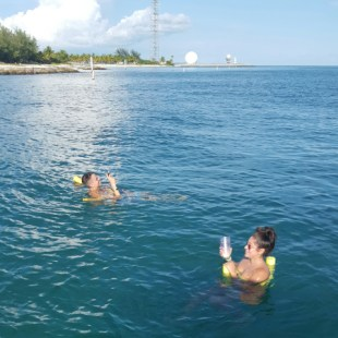 Make It So Key West Boat Charters - Donnie and Gina floating on noodles