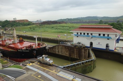 The Miraflores Lock, part of the Panama Canal