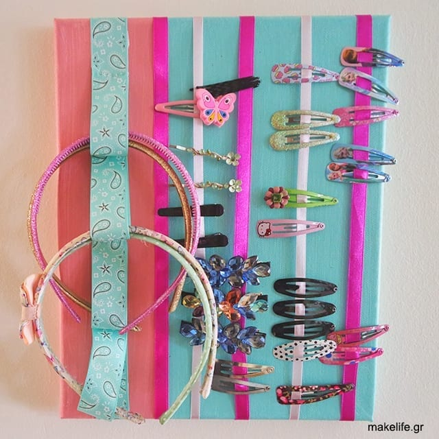 how to organize the accessories of your daughter - DIY για να οργανώσετε τα αξεσουάρ μαλλιών της κόρης σας