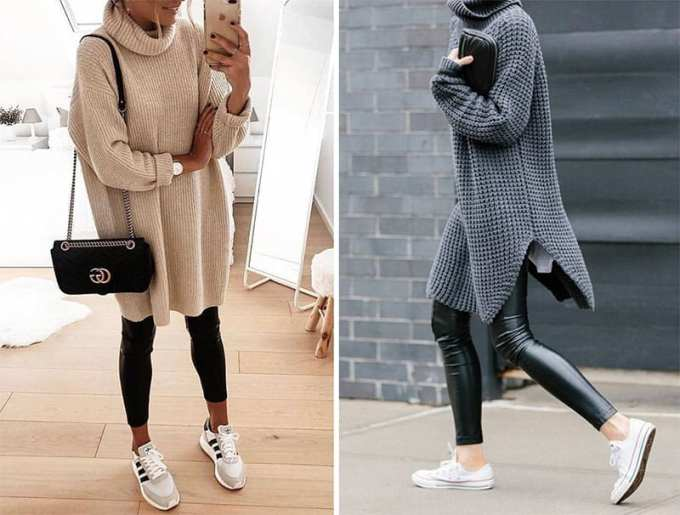 sweater leggings outfit - Πως να φορέσεις το oversized πουλόβερ αυτό το χειμώνα