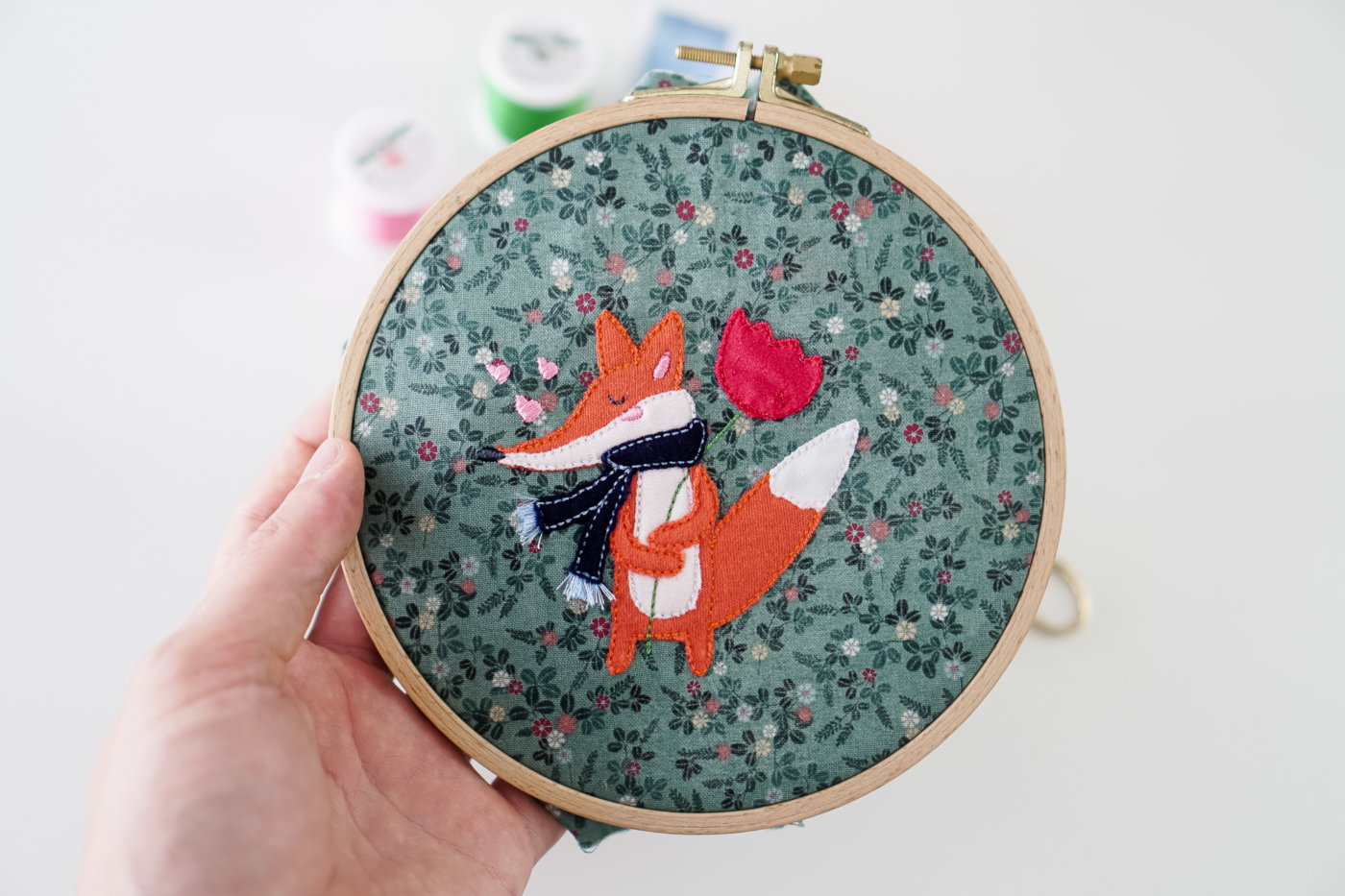 embroidery fox applique design ith