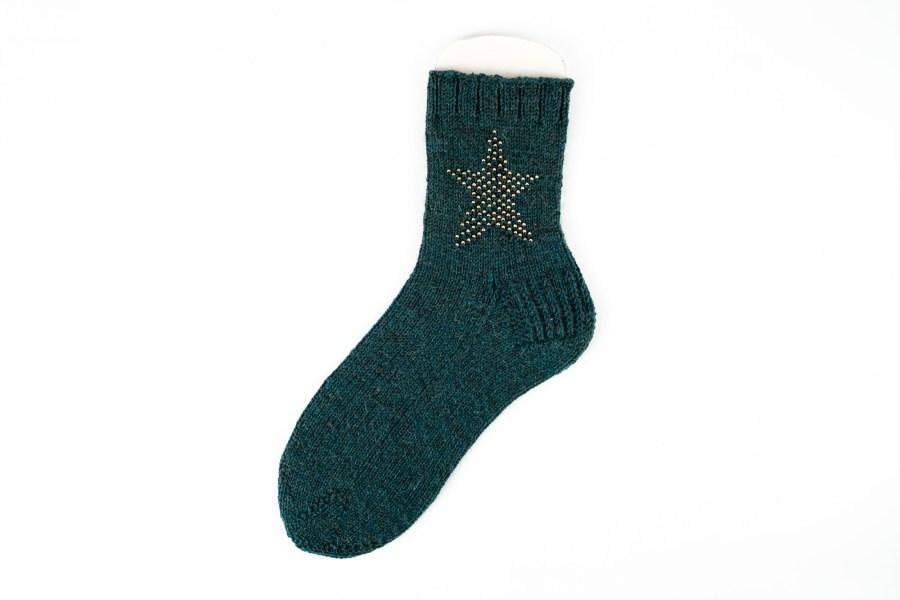 Socke flora, goldene perlen