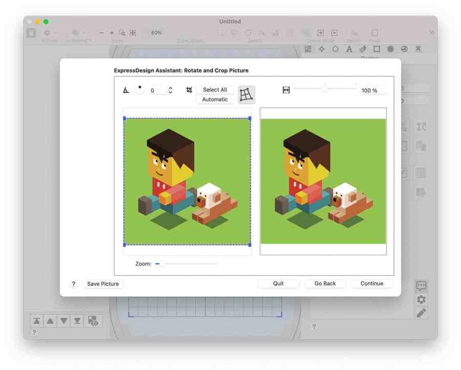Bildbereich auswählen, um Stickdatei automatisch erstellen zu lassen