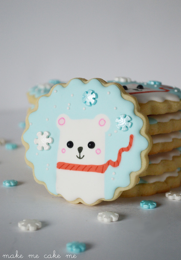 Winter Polar Bear Snowflake Cookies