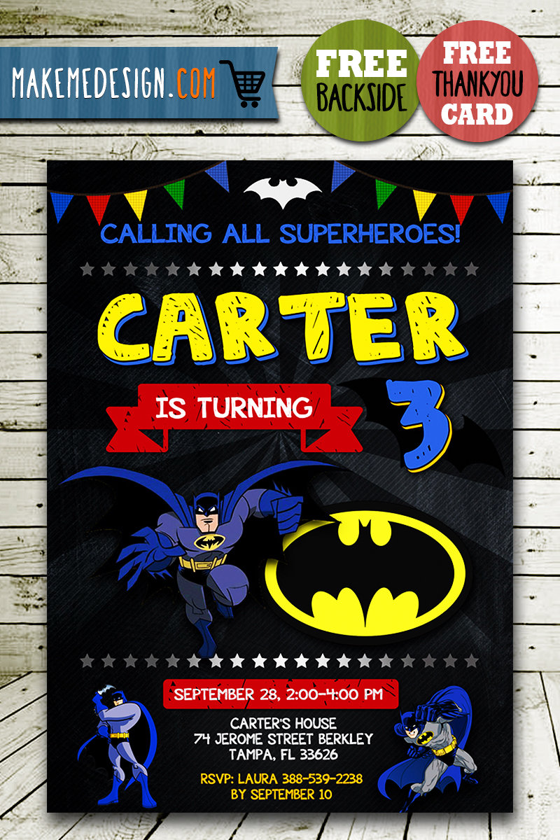 batman invitation card batman invite batman birthday party batman printable diy
