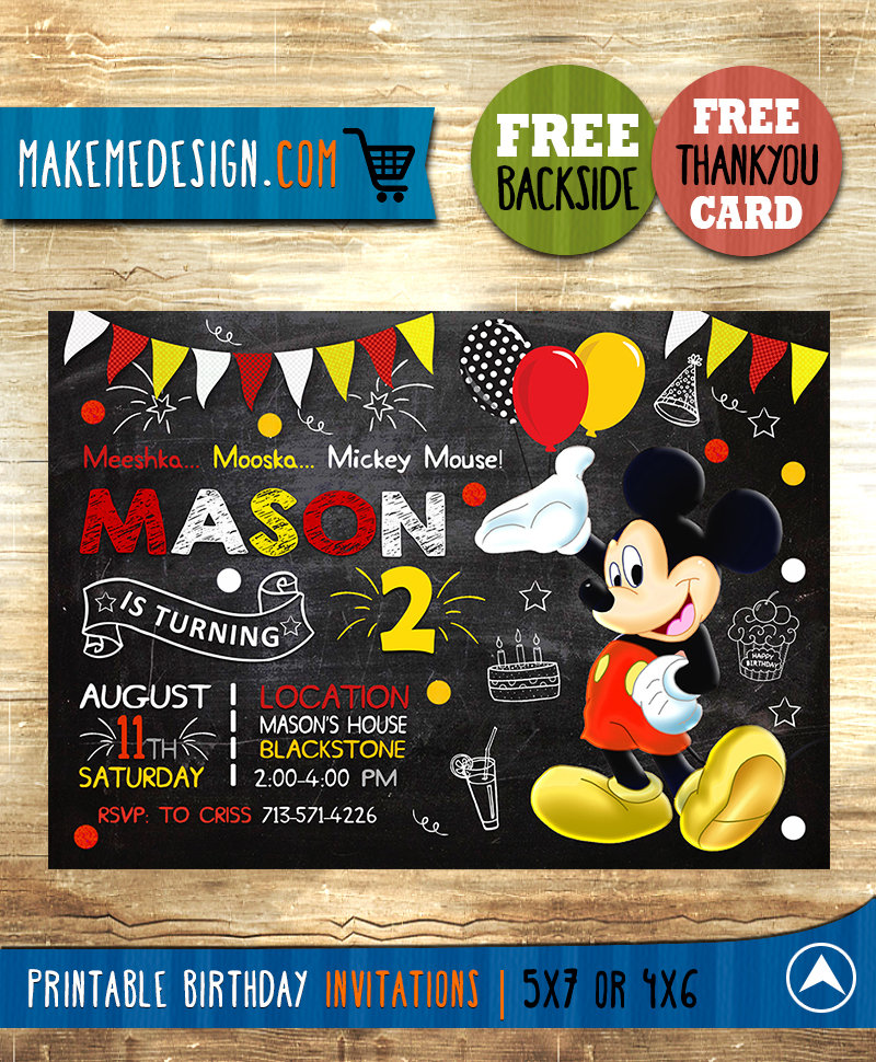 mickey mouse invitation mickey mouse invite mickey mouse birthday party mickey mouse printable mickey mouse card diy