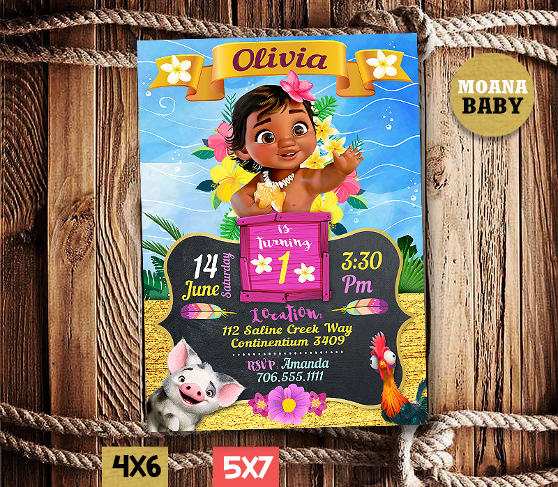 moana invitations printables moana baby invite moana baby birthday party moana printable moana card diy