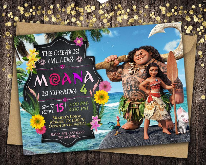 moana invitation moana invite moana birthday party moana printable moana card diy