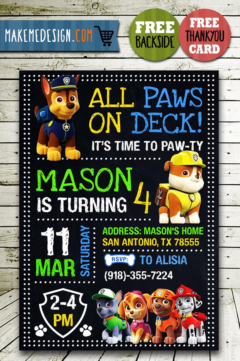paw patrol party ideas card paw patrol invite paw patrol birthday party printable paw patrol