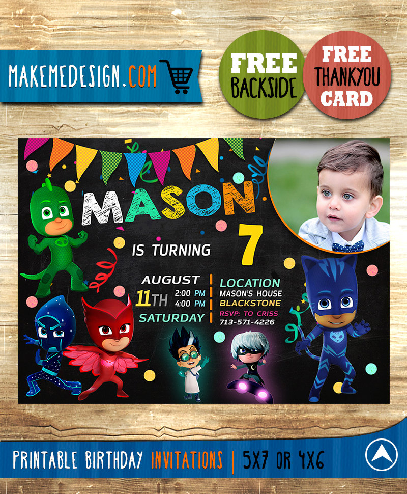 pj masks invitation with picture pj masks invite pj masks birthday party pj masks printable pj masks card diy