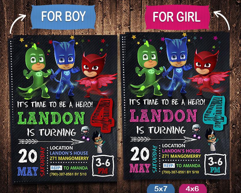 pj masks invitation pj masks invite pj masks birthday party pj masks printable pj masks card diy