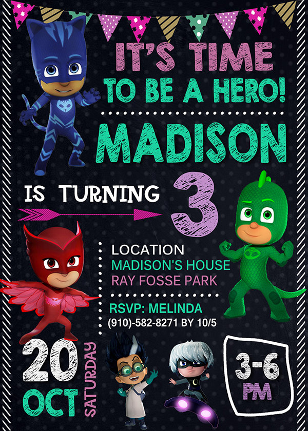 pj masks birthday invitations girl pj masks girl invite pj masks birthday girl party pj masks printable pj masks card diy