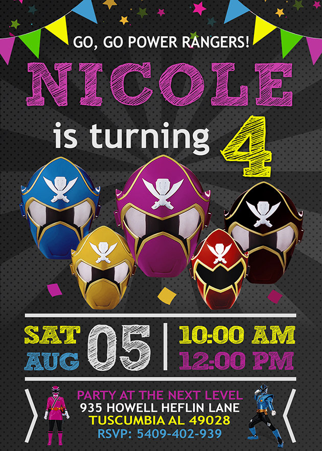 power rangers invitation power rangers invite power rangers birthday party power rangers printable power rangers card diy