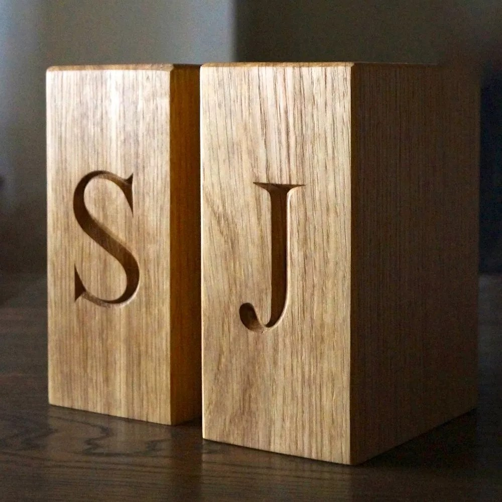 Engraved Wooden Bookends with Poem  Make Me Something Special
