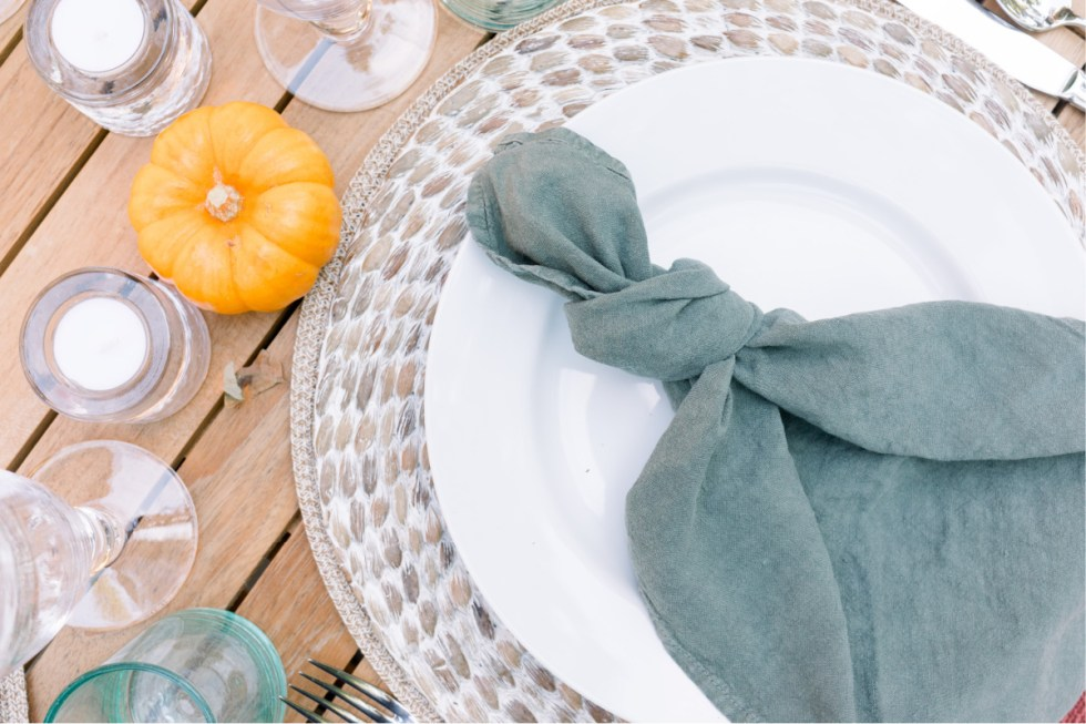 Outdoor Table Setting Linen Napkins