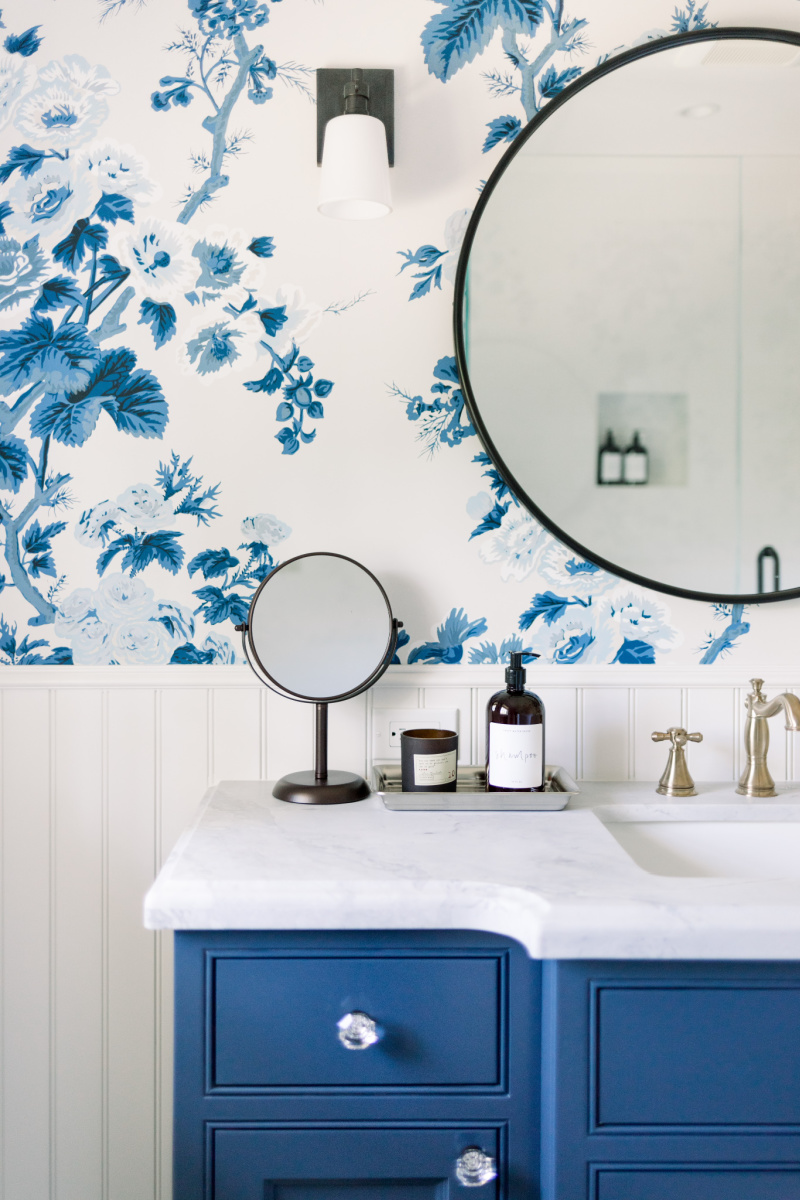 Blue and White Bathroom Vanity