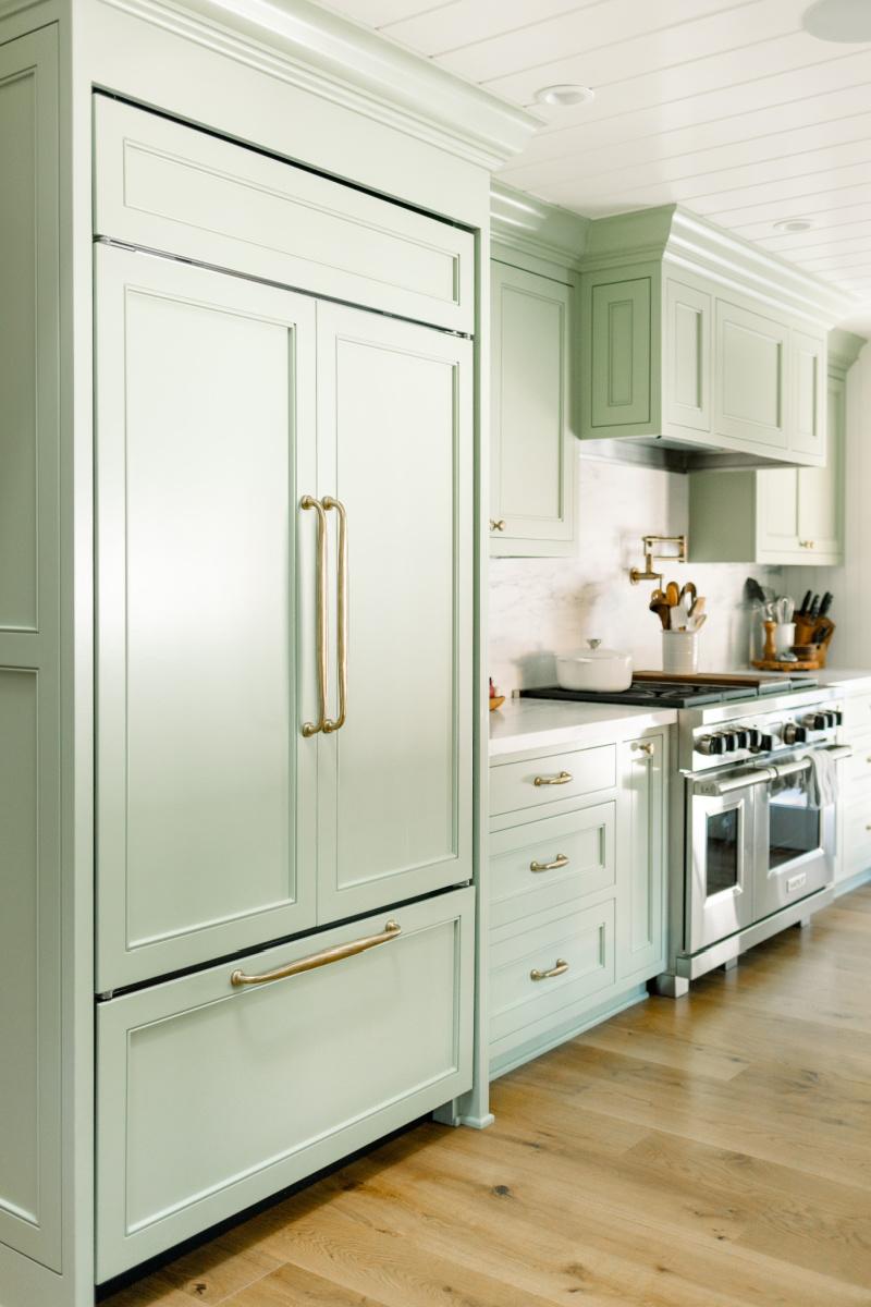 Sage Kitchen Cabinetry, Refrigerator and Range