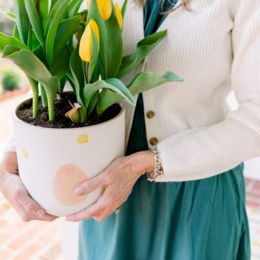 Easter Planter with yellow tulips