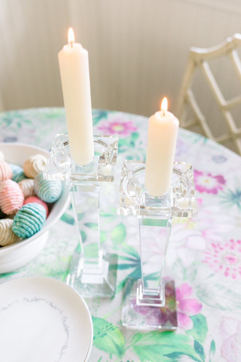 Crystal Candlesticiks and floral table cloth