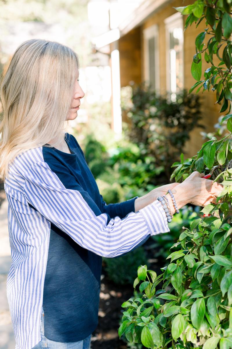 Woman in garden pruning tree