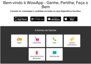 Bem-vindo à WowApp - Ganhe, Partilhe, Faça o Bem