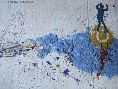 Bibuła i farby akrylowe na kartonie 100×70