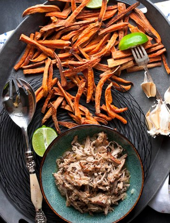 Carnitas with lime spiced sweet potato fries